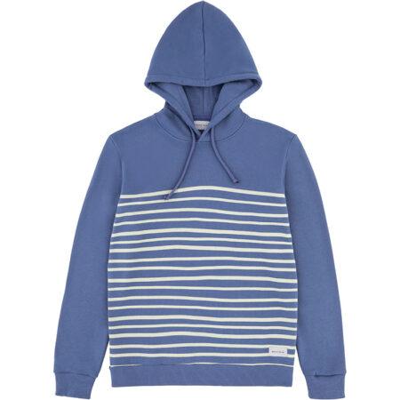 Sweatshirt à capuche en coton biologique (label Global Organic Textile Standard) avec des rayures. Fabriqué au Portugal