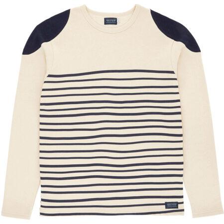 Sweatshirt marin en coton biologique (label Global Organic Textile Standard) avec des rayures. Fabriqué au Portugal