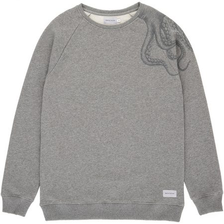 Sweatshirt pour homme gris chiné avec un imprimé de pieuvre sur l'épaule. Fabriqué au Portugal