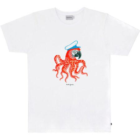 Tee shirt en coton biologique (label Global Organic Textile Standard) avec un imprimé de l'artiste Daniela Garreton. Fabriqué au Portugal